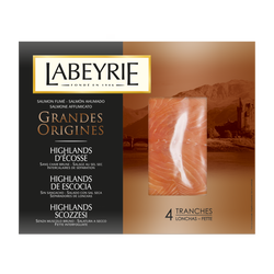 Saumon fumé Ecosse grandes origines LABEYRIE 4 tranches 130g
