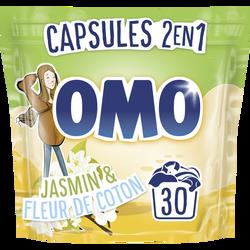 Lessive 2en1 jasmin et fleur de coton OMO, 30 dosettes soit 723g
