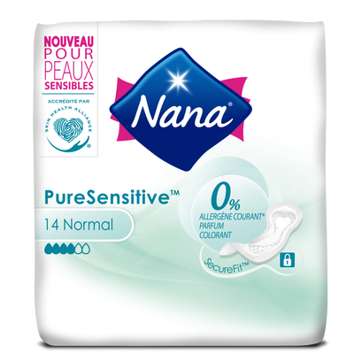 Serviettes pure sensitive normal 0% allergène NANA, x14