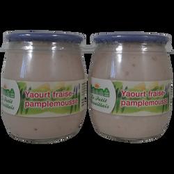 Yaourt au lait entier brassé fraise et pamplemousse LE PETIT VERSAILLAIS, pot en verre 2x125g