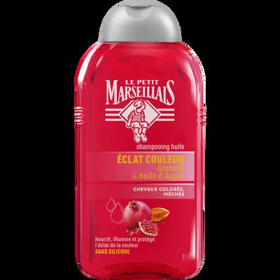 Shampoing pour cheveux colorés et méchés à la pulpe de grenade et à l'huile d'argan LE PETIT MARSEILLAIS, flacon de 250ml