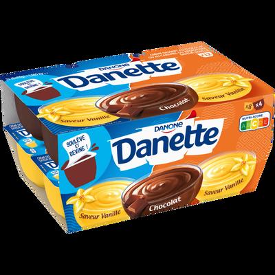 Crème dessert 2 saveurs chocolat, vanille DANETTE,  12x115g
