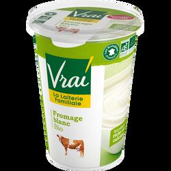 Fromage blanc nature au lait pasteurisé BIO VRAI, 3,6 % de matière grasse, pot de 500g