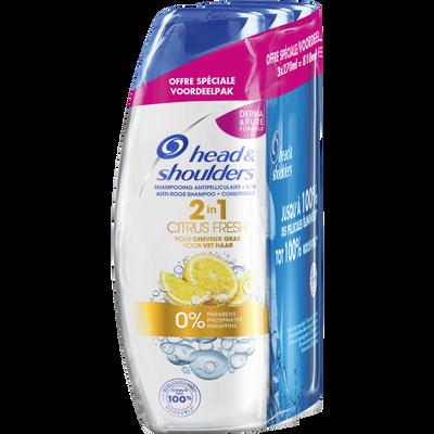 Shampoing citrus fresh 2 en 1 anti-pelliculaire pour cheveux gras HEAD& SHOULDERS, 3 flacons de 270ml