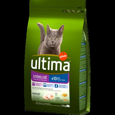 Croquettes pour chats stérilisés de +10 ans ULTIMA, 1,5kg