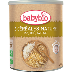 3 céréales nature riz-blé-avoine BABYBIO, dès 6 mois, 250g