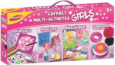 COFFRET MULTI-ACTIVITES GIRLS JOUSTRA-REGROUPE PLUSIEURS ACTIVITES TELLES QUE:POMPONS,MOULAGE PETITES POUPEES,MOSAIXFEES,MANDALA-A PARTIR DE5 ANS