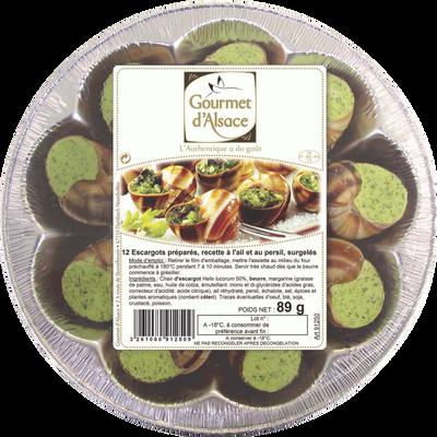 Escargots helix lucorum belle grosseur recette ail et persil GOURMET D'ALSACE, x12 soit 89g