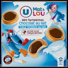 Mini tartelettes chocolat au lait coeur fondant au lait U MAT & LOU,225g