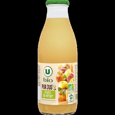 Pur jus Fruits du verger, U BIO, bouteille en verre de 1l