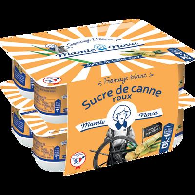 Fromage blanc lait entier sucre de canne roux MAMIE NOVA, pack de 100g