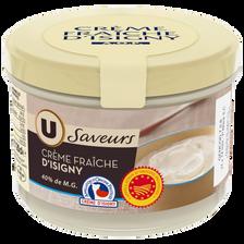 Crème fraîche épaisse AOP Isigny U SAVEURS, 40% de MG, 20cl