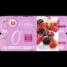 Yaourt allégé en sucres aux fruits rouges U, 0% de MG, 8x125g