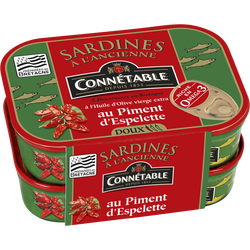 Sardines à l'huile d'olive et au piment d'Espelette CONNÉTABLE, 2 boîtes de 115g