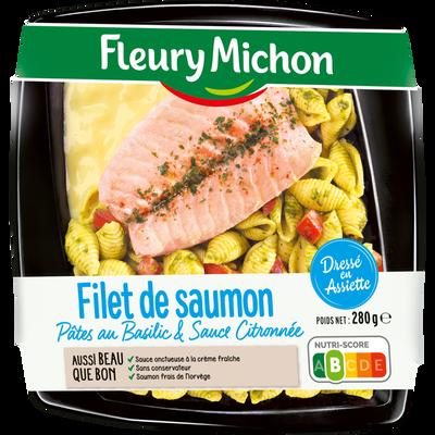 Filet de saumon pâtes au basilic sauce citronnée FLEURY MICHON, 280g