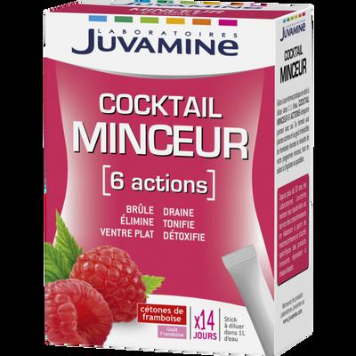 Cocktail minceur 6 actions goût framboise JUVAMINE, 14 sticks