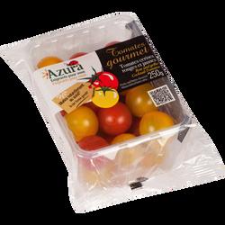Duo de tomate cerise ronde, segment Les cerises rondes, jaune et rouge, catégorie 1, Maroc, barquette, 250g