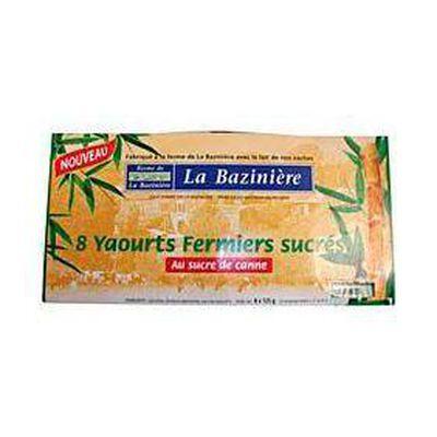 Yaourts fermiers nature sucrés LA BAZINIERE, 8x125g