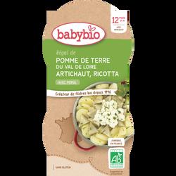 Bol pommes de terre artichaut ricotta BABYBIO, dès 12 mois, 2x200g