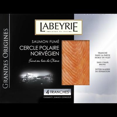 Saumon fumé grande origines Norvège LABEYRIE, 4 tranches soit 130g