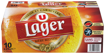 Lager Bière Blonde Lager U, 4,2°, Pack Bouteille 10x25cl