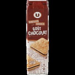 Goûters fourrés carrés parfum chocolat U MAT&LOU, 16 paquets, soit  300g