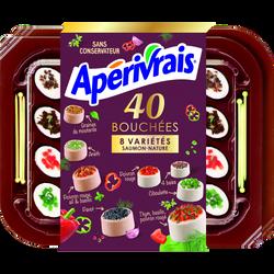 Bouchées fromagère lait pasteurisé saveur de Provence & saveur saumon8 variétés APERIVRAIS, 31% de MG, 40 unités, 200g