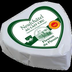 Coeur Neufchatel AOP lait cru 24% de MG FLEURON DU PLESSIS, 200g