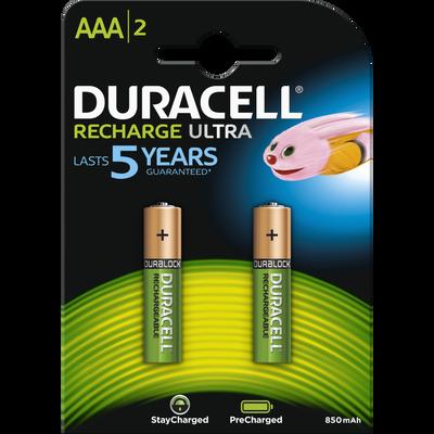 Piles DURACELL, recharge, HR03, 750 MAH, 2 unités