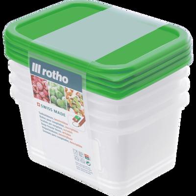 Boîte Domino Freeze ROTHO, 0,75l, avec couvercle vert, 4 unités
