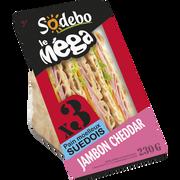 Sodeb'O Sandwich Le Méga Club Suédois Jambon Cheddar Sodebo, 230g