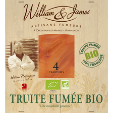 William & James Truite Fumée Bio , 4 Tranches, 100g