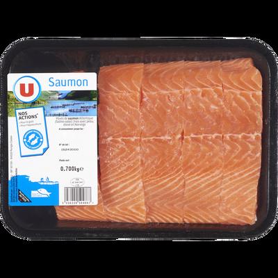 Pavé de saumon avec peau, Salmo salar, U, barquette 700g
