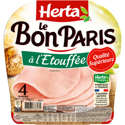 Jambon de Paris étouffée Découenée Dégraissée Le Bon Paris HERTA, 4 tranches de 170g