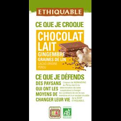 CHOCOLAT LAIT GINGEMBRE GRAINES DE LIN PÉROU BIO 100G