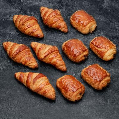 Croissant et pain au chocolat, U, 10 pièces, 500g