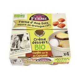 Crème dessert bio vanille Bourbon sur lit de caramel, Ferme d'Ana-Soiz, 4 100g