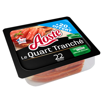 Aoste Jambon Sec Nature Supérieur Vpf 1/4 Aoste 220g +20% Offert