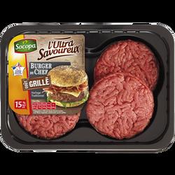 Burger du chef saveur grillé, 15% MAT.GR., SOCOPA, 4 pièces, barquette, 440g