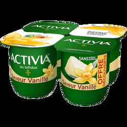 Lait fermenté sucré au bifidus saveur vanille ACTIVIA, 4x125g