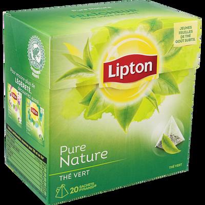 Thé vert nature LIPTON, 20 sachets pyramide, 30g