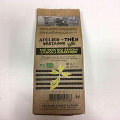 Thé vert sencha citron gingembre BIO, ATELIER DES CAFES ET THES, paquet 80g
