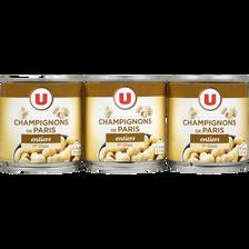 Champignons entiers 1er choix U, 3 boîtes de 1/4, 345g