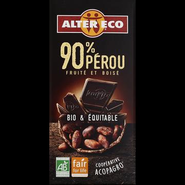 Garnier Chocolat Noir Bio 90% Alter Eco, Tablette De 100g