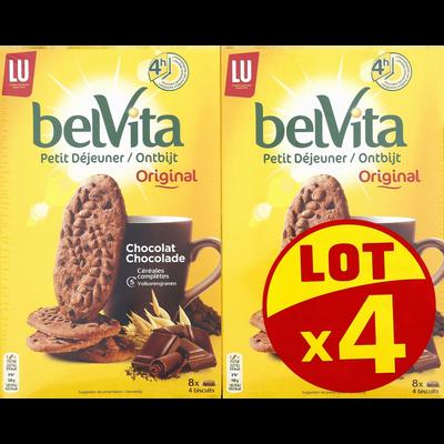 Biscuits aux céréales tout chocolat BELVITA, 4 paquets de 400g