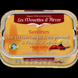 Sardines au citron confit et au piment à l'huile d'olive, LES MOUETTESD'AVOR, 115g