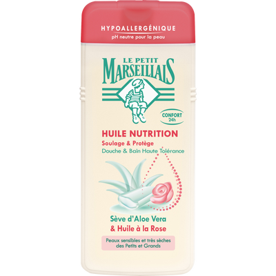 Huile douche & bain nutrition hypoallergénique aloe vera/huile à la rose LE PETIT MARSEILLAIS, 650ml