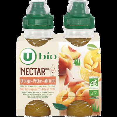 Nectar orange,pêche,abricot sans sucre ajoutés U BIO, 4x20cl
