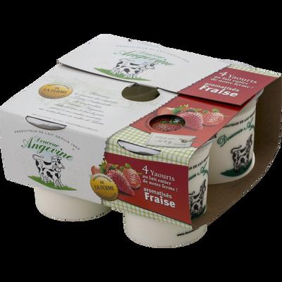 Yaourts arômatisés fraise GAEC DU LATHAN, 4x125g
