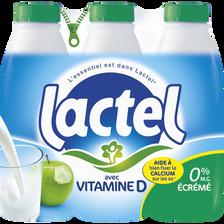 Lait écrémé UHT LACTEL, 6 bouteilles de 1l
